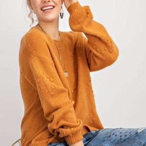 Heart Embroidered Knit Sweater